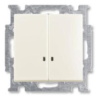 Выключатель двухклавишный с подсветкой ABB basic 55 (шале-белый)