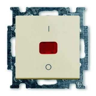 Выключатель двухполюсный с подсветкой ABB Basic 55 (сл.кость)