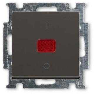 Выключатель двухполюсный с подсветкой ABB Basic 55 (шато-черный)