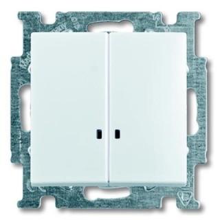 Выключатель двухклавишный с подсветкой ABB basic 55 (альпийский белый)