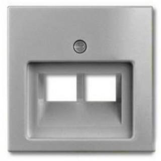 Лицевая панель для двойной информационной розетки ABB basic (алюминий)