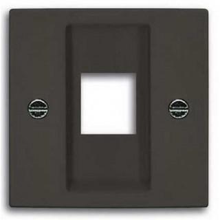 Лицевая панель с суппортом для 1-го разьема Modular Jack ABB basic (шато-черный)