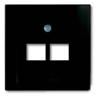 Лицевая панель для двойной информационной розетки ABB basic (шато-черный)