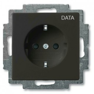Розетка 2P+E нем. стд.с маркировкой DATA ABB Basic 55 (шато-черный)