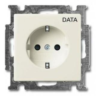 Розетка 2P+E нем. стд. с маркировкой DATA ABB basic 55 (шале-белый)