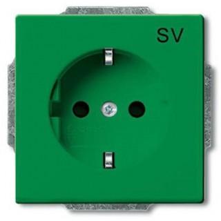Розетка 2P+E нем. стд. ABB basic 55 (зеленый)