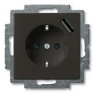 Розетка 2P+E нем. стд. + USB ABB basic 55 (шато-черный)