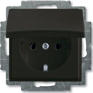 Розетка 2P+E нем. стд. с крышкой ABB Basic 55 (шато-черный)