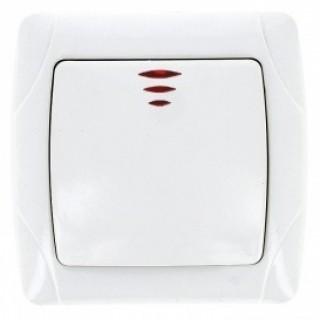 Выключатель одноклавишный с индикатором EKF Мадрид белый