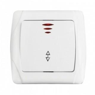 Выключатель одноклавишный проходной с подсветкой EKF Мадрид белый