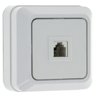 Розетка EKF Рим Phone (телефонная) наружной установки белая