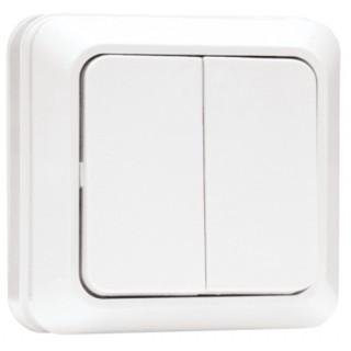 Выключатель 2-клавишный наружной установки EKF Рим 10 А белый