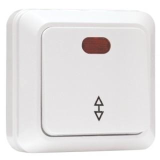 Выключатель 1-клавишный проходной с индикатором наружной установки EKF Рим 10 А белый