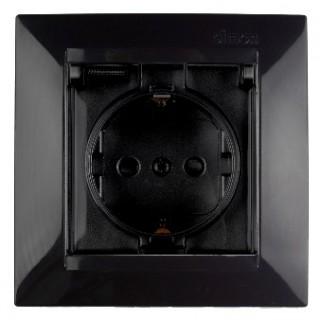 Розетка 2Р+Е Schuko (со шторками, с заземлением, с крышкой) Simon 1590450-032 черный