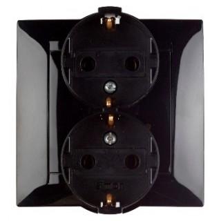 Розетка двойная 2Р+E (с заземлением) Simon 1590459-032 черный