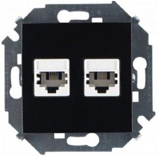 Розетка телефонная 2*RJ11 двойная Simon 1591589-032 черный