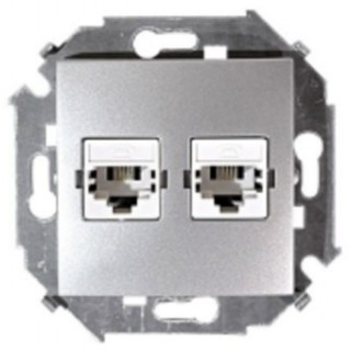 Розетка телефонная 2*RJ11 двойная Simon 1591589-033 алюминий