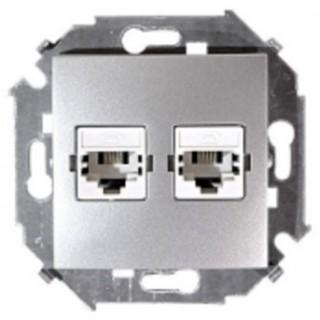 Розетка компьютерная двойная RJ-45 CAT5e Simon 1591593-033 алюминий