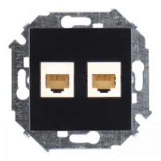 Розетка компьютерная двойная RJ-45 CAT5e Simon 1591593-032 черный