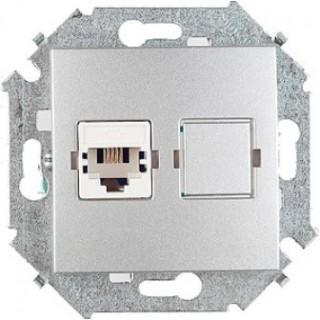 Розетка компьютерная RJ-45 CAT5e Simon 1591598-033 (витая пара) алюминий