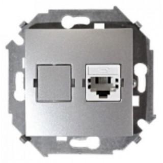 Розетка телефонная RJ-11 Simon 1591480-033 алюминий