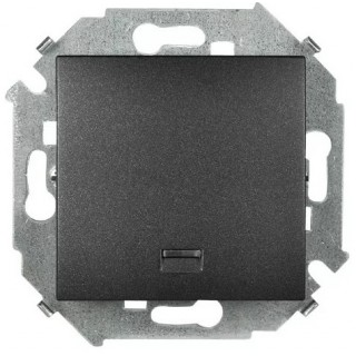 Выключатель одноклавишный с подсветкой Simon 1591104-038 графит