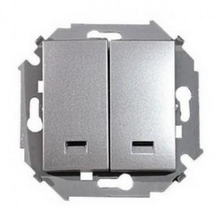 Выключатель двухклавишный  с подсветкой Simon 1591392-033 алюминий