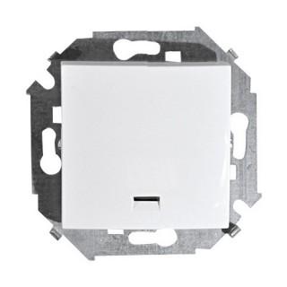 Выключатель одноклавишный с подсветкой Simon 1591104-030 белый