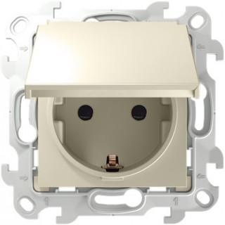 Розетка 2К+З Schuko IP44 Simon 2450448-031 слоновая кость
