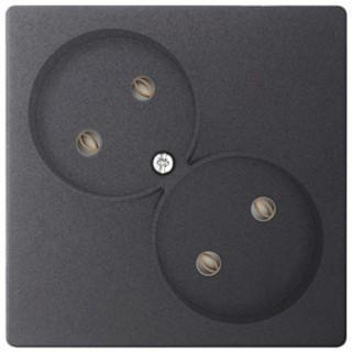 Розетка 2х2К без защитных шторок Simon 2450457-038 графит