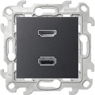 Коннектор HDMI+USB 2.0 Simon 2411095-038 графит