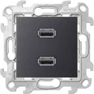 Коннектор 2хUSB Simon 2411090-038 графит