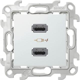 Зарядное устройство розетка 2хUSB Simon 2411096-030 белый
