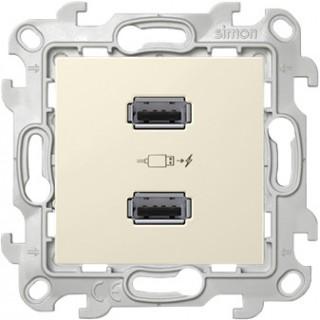 Зарядное устройство розетка 2хUSB Simon 2411096-031 слоновая кость