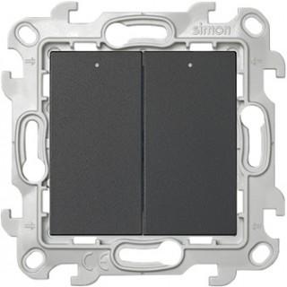 Двухклавишный выключатель Simon 2450392-031 с подсветкой графит