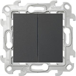 Двухклавишный выключатель Simon 2450398-038 графит