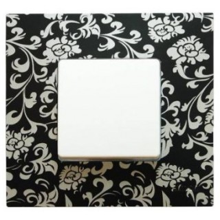 Декоративная накладка на рамку-базу, 1 место, S27Pl,  чёрный ретро