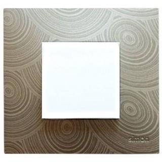 Декоративная накладка на рамку-базу, 1 место, S27Pl,  серое солнце