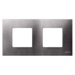 Декоративная накладка на рамку-базу, 2 места, S27Pl, титан
