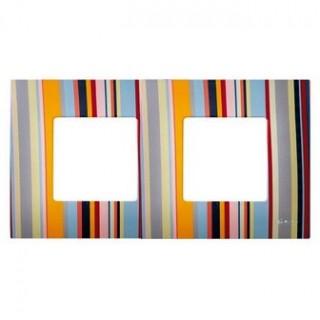 Декоративная накладка на рамку-базу, 2 места, S27Pl, многоцветный поток