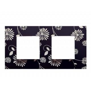 Декоративная накладка на рамку-базу, 2 места, S27Pl, черно-белый
