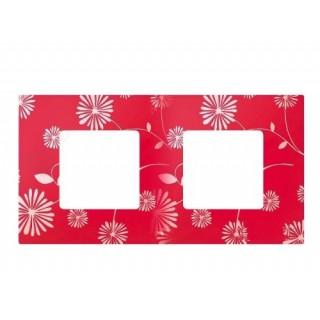 Декоративная накладка на рамку-базу, 2 места, S27Pl, красно-белый