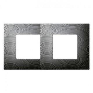 Декоративная накладка на рамку-базу, 2 места, S27Pl, серое солнце
