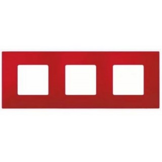 Декоративная накладка на рамку-базу, 3 места, S27Pl, красный