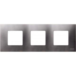 Декоративная накладка на рамку-базу, 3 места, S27Pl, титан