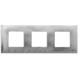 Декоративная накладка на рамку-базу, 3 места, S27Pl, нержавеющая сталь