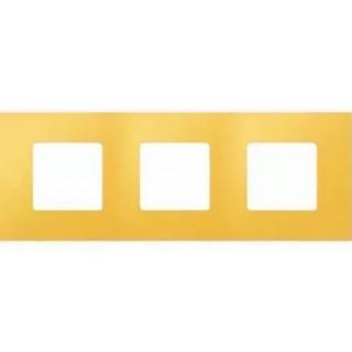 Декоративная накладка на рамку-базу, 3 места, S27Pl, жёлтый