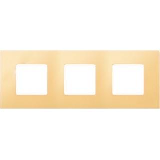 Декоративная накладка на рамку-базу, 3 места, S27Pl, кремовый