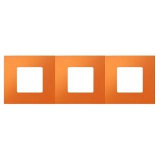 Декоративная накладка на рамку-базу, 3 места, S27Pl, апельсин