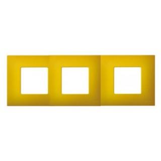 Декоративная накладка на рамку-базу, 3 места, S27Pl, артик жёлтый